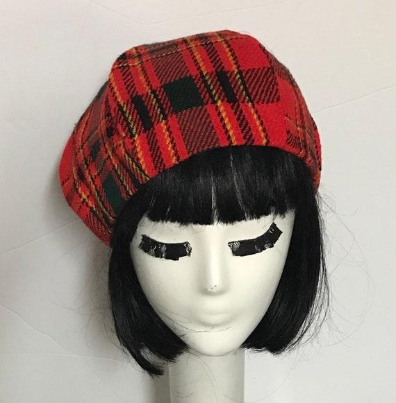 3b1a5a4a1e197 Red Plaid Beret Hat | Etsy