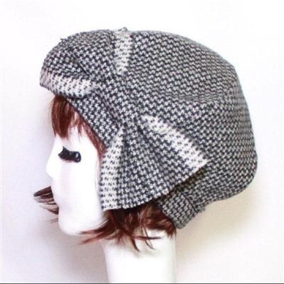 263afe307a4b6 Beret Hat Bow Black   White Herringbone Wool Beret Hat Bow