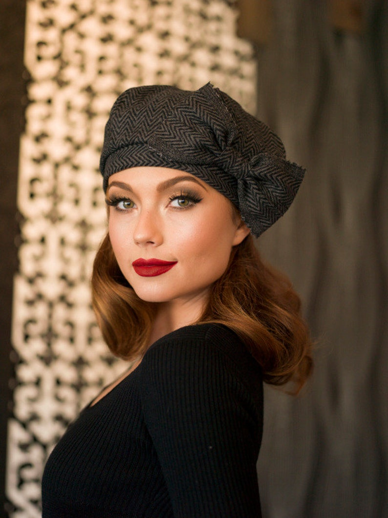 aa52660bf4f51 Beret Hat Bow Grey   Black Chevron Striped Wool Beret French