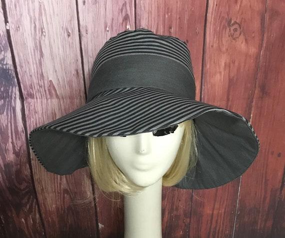 f2695d387cc220 Sun Hat Black & Grey Striped hat Wide Brim Hat Floppy Hat | Etsy