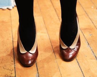Vintage Deep Maroon and Beige Collared Garolini Italian Heels // Made in Italy // 1980s // 8M