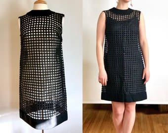 RARE Vintage Black Woven Cage Dress with Slip // 1960s