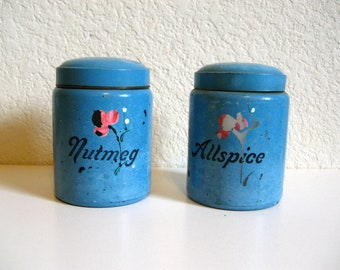 Vintage Hand Painted Sky Blue Glass Spice Jars:  Allspice and Nutmeg // 1970s