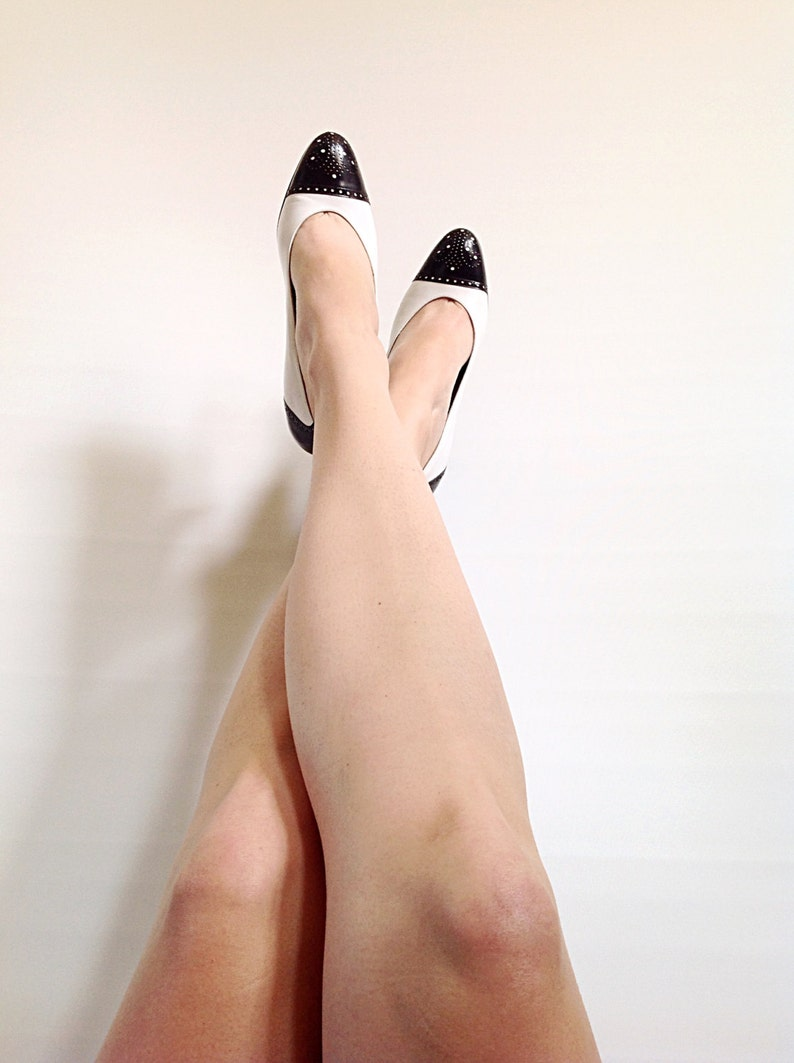 Vintage Bruno Magli White & Black Pumps with Pinhole Detail // image 0