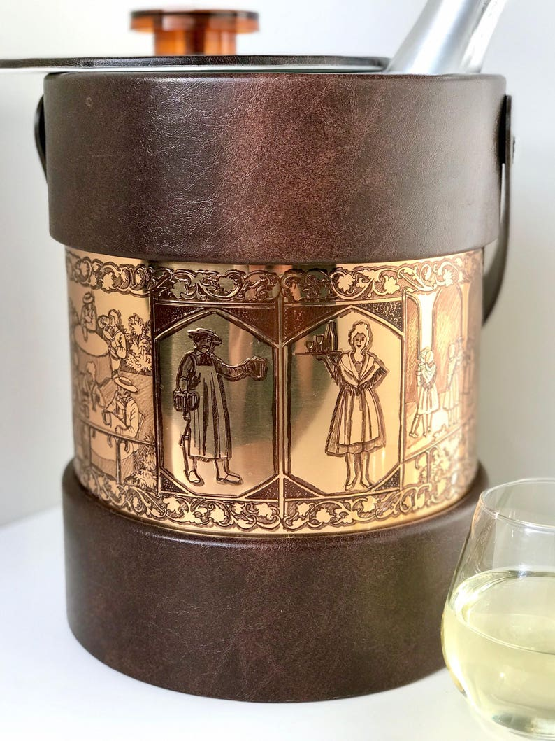 Vintage Ice Bucket Caddy with Bar Still Life Motif // 1970s image 0