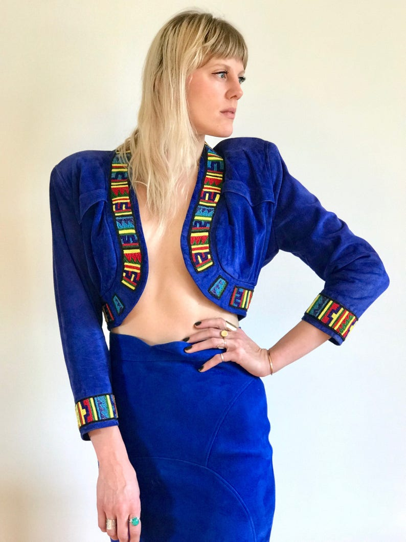 RARE COLLECTORS Jean Claude Jitrois Cobalt Leather Skirt and image 0