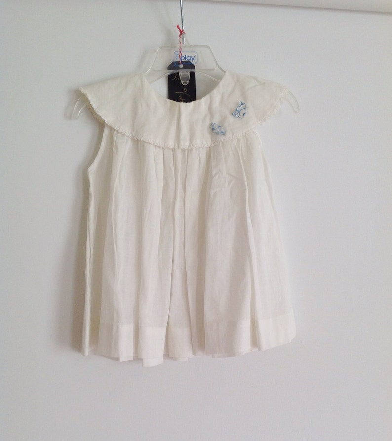 Vintage White Toddler Dress/Shirt with Blue Flower Accents // image 0