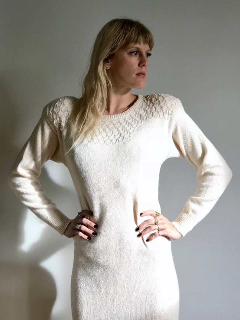 Vintage Cream Angel Babe Knit Dress with Beaded Scalloped image 0