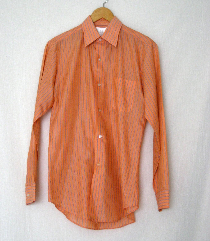 Vintage Salmonpeach Teal Striped Dress Shirt 1970s Etsy