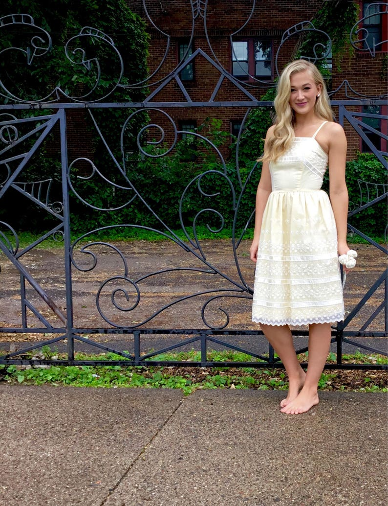 Vintage Light Yellow Wedding Dress with Flocked Overlay // image 0