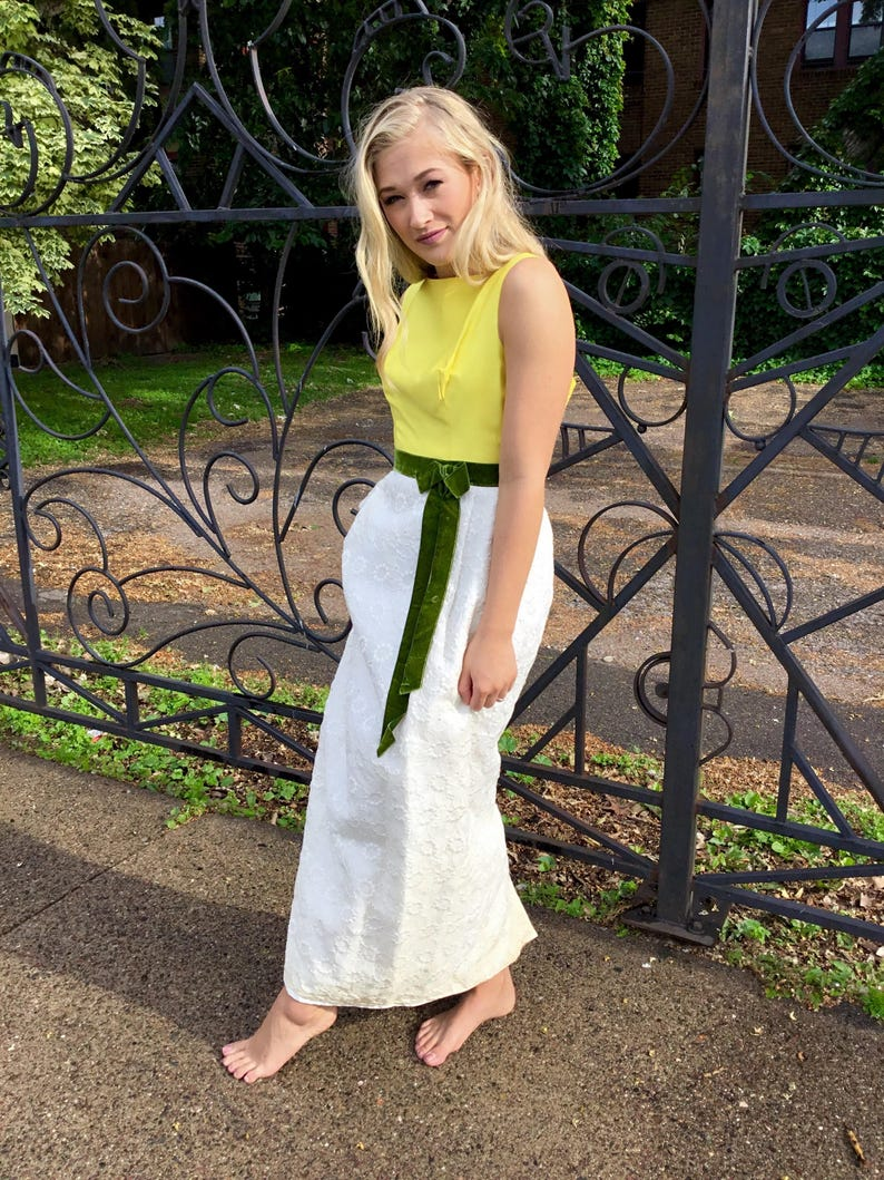 Vintage White and Yellow Dress with Green Velvet Sash // image 0
