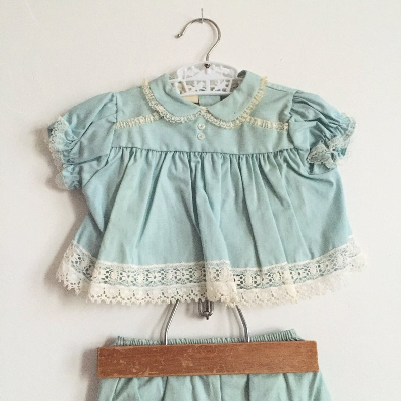 Vintage Pastel Pale Blue Two Piece Baby Set with Blouse & image 0