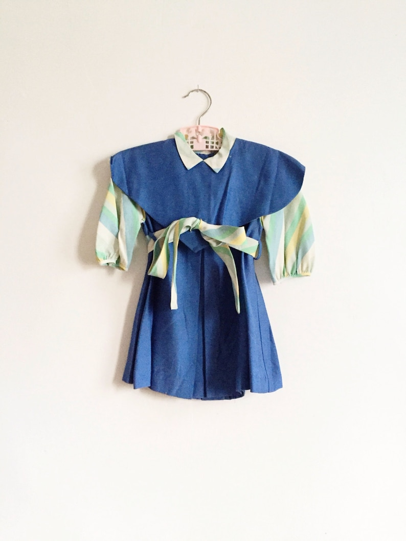 Vintage Blue Tea Party Toddler Dress // 1950s image 0
