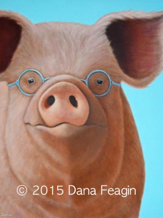 Original Pig Painting Pig With Glasses Mr Magoo Pig Art Etsy