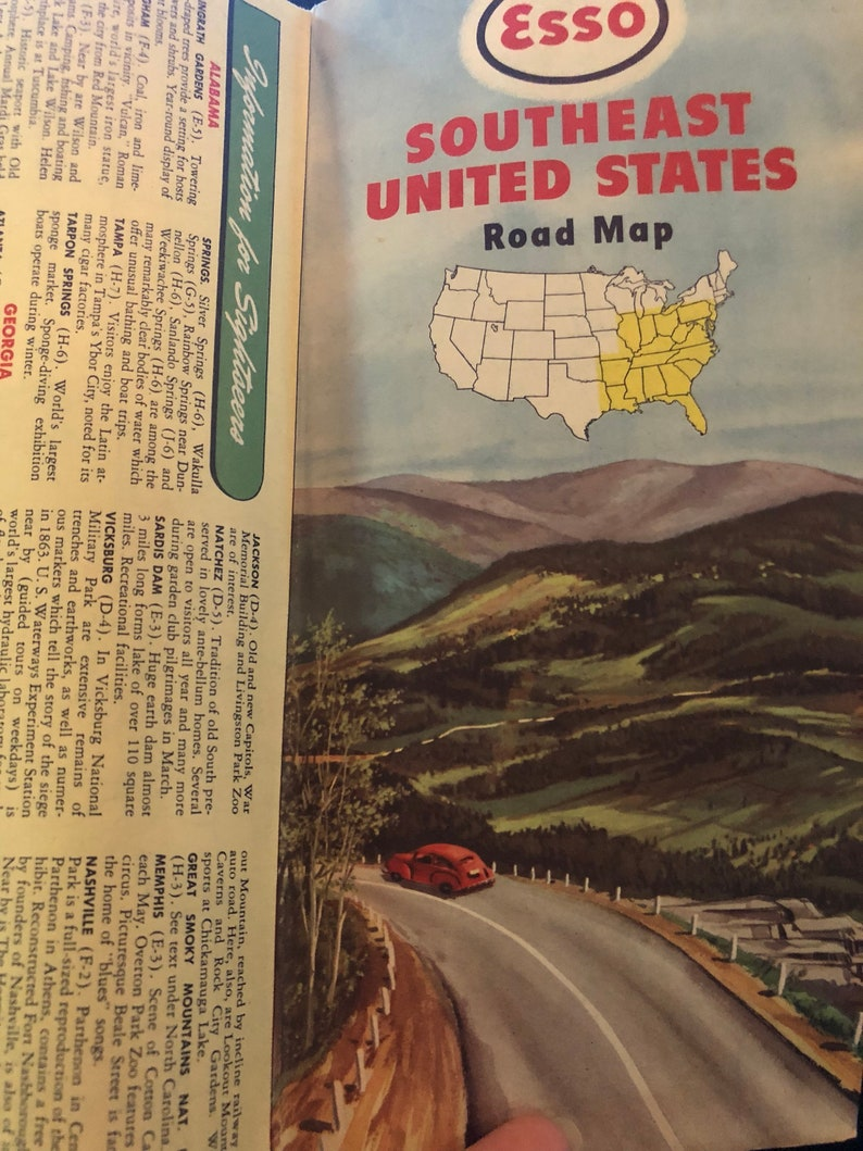 Vintage Esso Southeastern United States Road Map Midcentury | Etsy