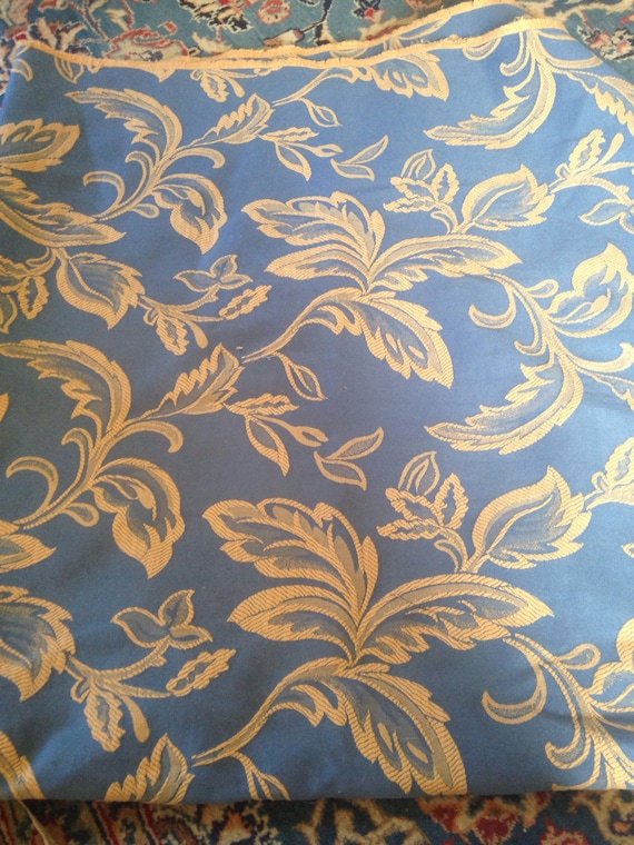 Vintage Damask Brocade Upholstery Fabric Blue Gold Yellow Etsy