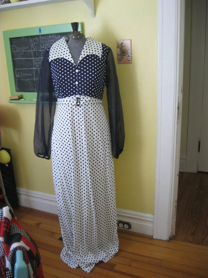 Vintage Kleid blau und weiß Polka Dots Retro lang | Etsy
