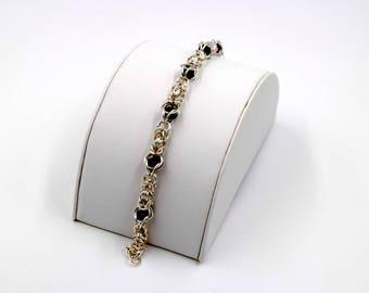 Sterling Silver Byzantine Weave Bracelet with Amethyst beads