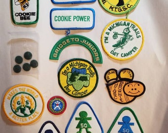 Vintage 1980s Girl Scout Brownie Badges and Buttons