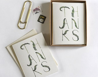 Thank You Fronds Boxed Note Cards : Boxed Set of 8 Cards + Envelopes