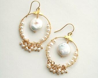 Coin Pearl Earrings, Bohemian Wedding Earrings, Boho Bride, Pearl Earrings