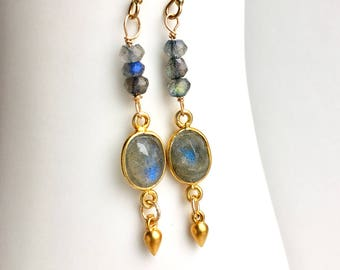 Labradorite Earrings, Blue Labradorite Earrings, Labradorite Drop Earrings, Gift for Her