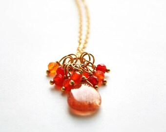 Sunstone Necklace, Orange Necklace, Gemstone Necklace