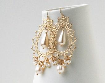 Chandelier Bridal Earrings, Pearl Boho Jewelry, Bohemian Wedding Earrings, Boho Earrings