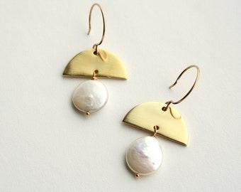 Modern Pearl Earrings, June Birthstone, Half Moon, June Birthday