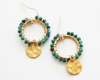 Bohemian Turquoise Earrings, Beaded Earrings, Charm Earrings, Turquoise Jewelry
