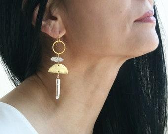 Boho Crystal Chandelier Earrings, Long Bohemian Earrings, Herkimer Diamond Chandelier Earrings