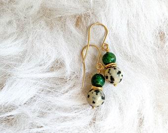 Petite Jade Earrings, Dalmatian Jasper Earrings, Green Drop Earrings
