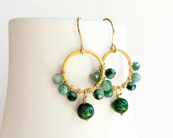 Jade Emerald Circle Earrings, Green Gemstone Earrings, Jade Drop Earrings