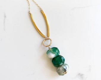 Green Agate Necklace, Long Green Boho Necklace, Statement Bohemian Necklace