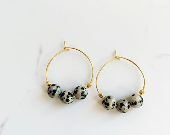 Dalmatian Jasper Hoops, Spotted Hoop Earrings, Pattern Hoops
