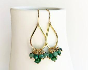 Jade and Emerald Teardrop Earrings, Green Dangle Earrings, Holiday Gift
