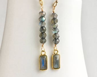Gold Labradorite Earrings, Labradorite Earrings, Gemstone Jewelry, Gift for Her