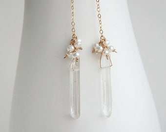 Boho Wedding Earring, Raw Crystal Earrings, Bohemian Wedding