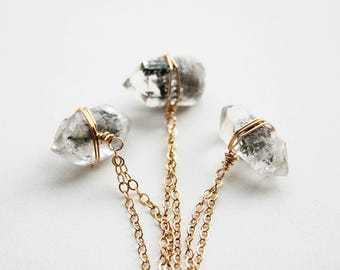 Herkimer Diamond Necklace, Boho, Raw Crystal Necklace, April Birthstone