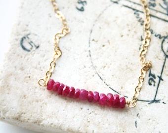 Ruby Necklace, July Birthstone, Ruby Jewelry, Birthstone Necklace