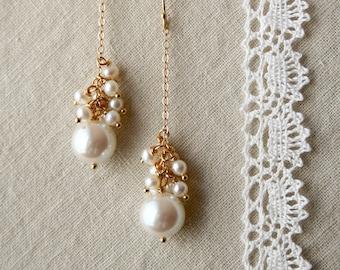 Pearl Drop Earrings, Bridal Jewelry, Wedding Earrings, Pearl Dangle Earrings, Bridal Earrings
