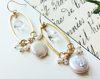 Bridal Earrings, Wedding Earrings, Pearl Earrings, Bohemian Wedding