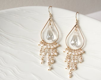 Crystal Wedding Earrings, Bridal Earrings, Pearl Earrings