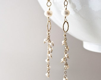 Long Pearl Earrings, Bridal Earrings, Wedding Earrings, Pearl Drop Earrings, Pearl Jewelry