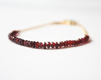 Garnet Red Bracelet, January Birthstone, Mother's Day Gift