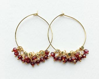 Garnet Earrings, January Birthstone, Garnet Hoop Earrings, Red Earrings