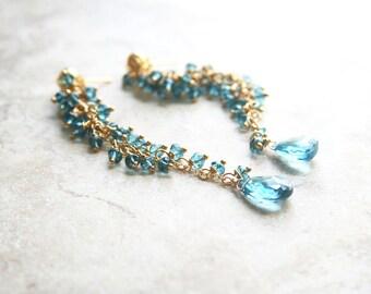 Long Blue Earrings, Gemstone Jewelry, Blue Earrings, Blue Topaz Earrings