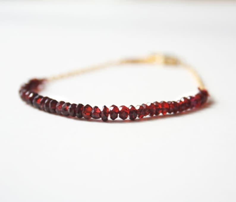 Garnet Red Bracelet January Birthstone Handmade Jewelry image 0