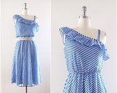 Striped Sundress, True Vintage, Nautical Blue White, One Shoulder, Size Small - Medium, Summer Fashion