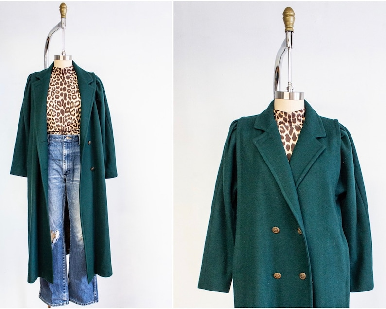Wool Coat Size Medium Pine Green Double Breasted Full image 0
